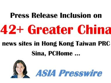 Greater China press release distribution to HK/TW/PRC