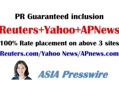Reuters APNews Yahoo News press release guaranteed inclusion