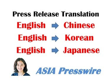 press release Translation English to Chinese Korean Japanese