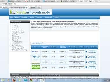 onpage and offpage optimization for kredit-info-online.de