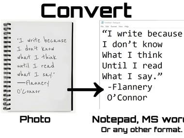 Photo to Writing format
