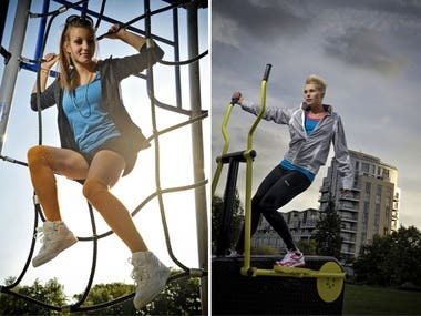 Outdoor fitness sportswear shoot