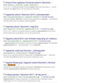 Top 10 ranking in google.se