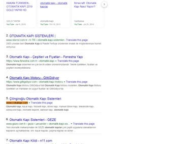 First page ranking of google.com.tr
