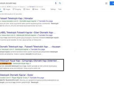 Top 4 ranking on google.com.tr
