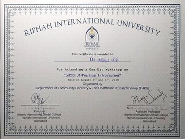 SPSS Workshop Certificate