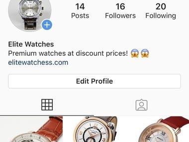 Drop shipping store Instagram account