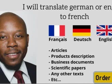 Translation in german or english to french and vice versa