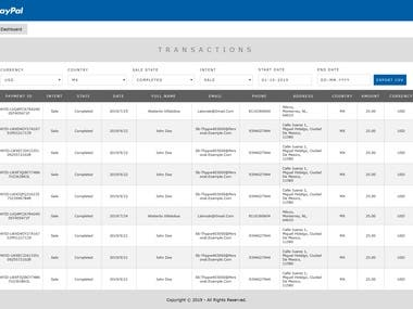 Paypal Transactions Dashboard