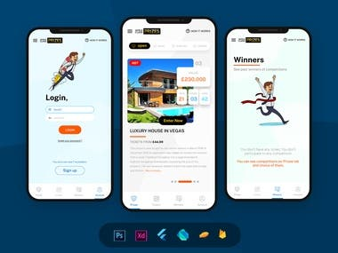 Lottery Mobile app design and develop UI UX