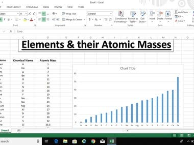 Chemistry Assignment on Ms Excel