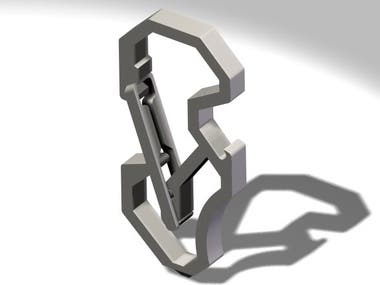 Small 3D part carabiner keychain