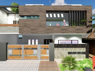 3D Front Elevation of modern house