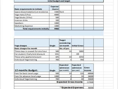 Initial Budget & Target for Yoga Business