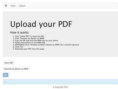 Responsive Vue.js & Node.js site to sign PDF via IRMA