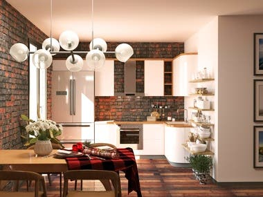 Kitchen's design and rendering.