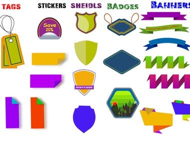 I designed the Tags, Stickers, Sheilds, Banners and Badges