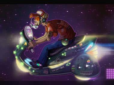 Futuristic Delivery Boy Illustration
