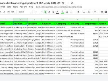 USA Automotive, Pharmaceutical marketing department's Emails