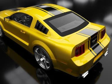 Ford Shelby Mustang GT500 3D Modeling and Preview Rendering