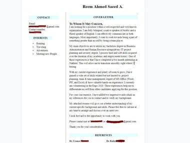 Resume and one cover letter