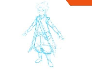 Manga/anime Character design sheet.