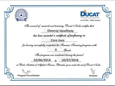 Certification of training in core java from ducat india.