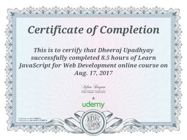 certificate from Udemy in java script for web development