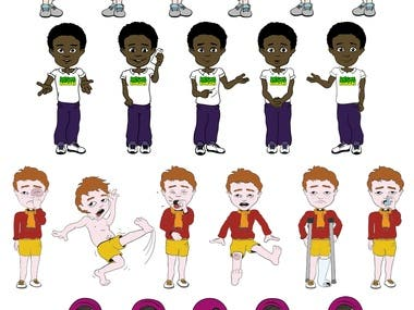 Simple cartoon characters