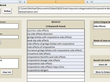 Excel Sorting SEO Keywords