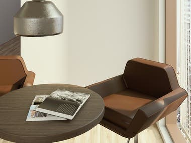 2 leather chairs with a table