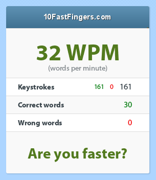 some days ago my typing speed 32.now my typing is 50+