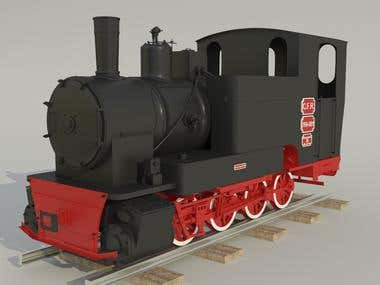 Steam engine locomotive - modeling from reference images