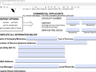 Create Fillable PDF Form (Project For SalimSolutions)