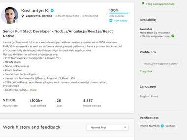 Top Rated Full-stack developer in upwork