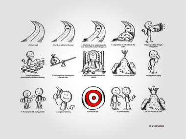 Whiteboard styled icons