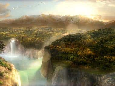 Waterfalls MattePaint