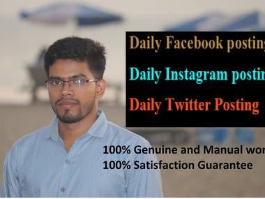 Create Daily posting on Facebook, Twitter, Instagram.