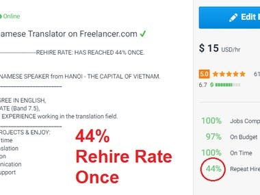 44% REHIRE RATE - BEST OUTSTANDING TRANSLATOR