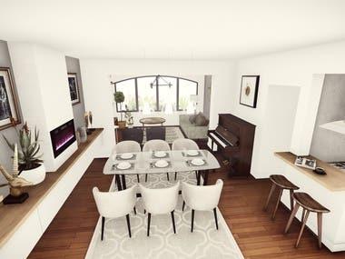 The interior design of an apartment