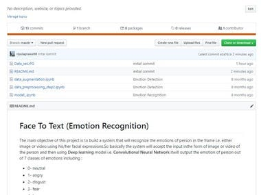 Face to Text (Emotion Recognition)