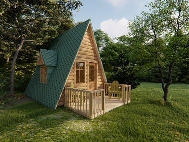 Log cabin exterior design