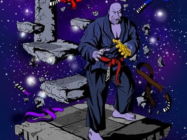 thanos comic style illustration guardians of the galaxy