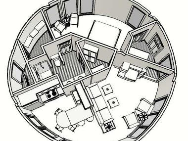 A circular home with one bedroom