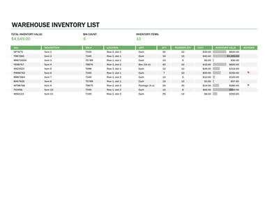 Warehouse inventory sheet