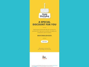 Email template for Birthday Discount