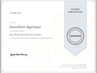 Coursera Certificate - How Google does Machine Learning
