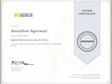 Coursera Certificate - Applied Machine Learning in Python