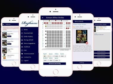 Rajhans A Movie ticket booking, Seat management - RN App
