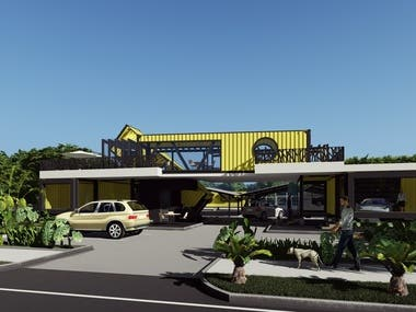 Restaurant and local design of vehicles with Container